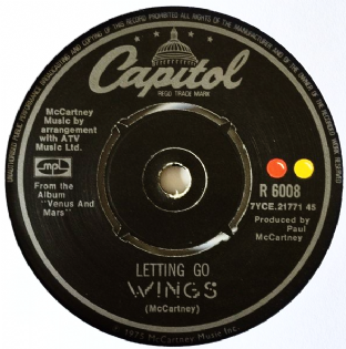 "Wings ‎- Letting Go (7"") (VG+/NM)"